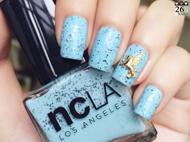 Swatch: Mostly Sunny with a Chance of Sprinkle NCLA nail art by Kay Woo