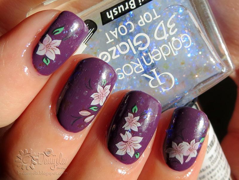 Purple flowers nail art by bydanijela