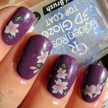 Purple flowers nail art by bydanijela