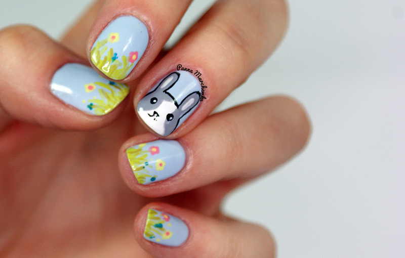 Rabbit nails nail art by Panna Marchewka