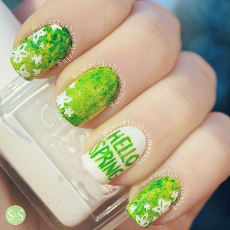 hello spring nail art by SweetnShimmering