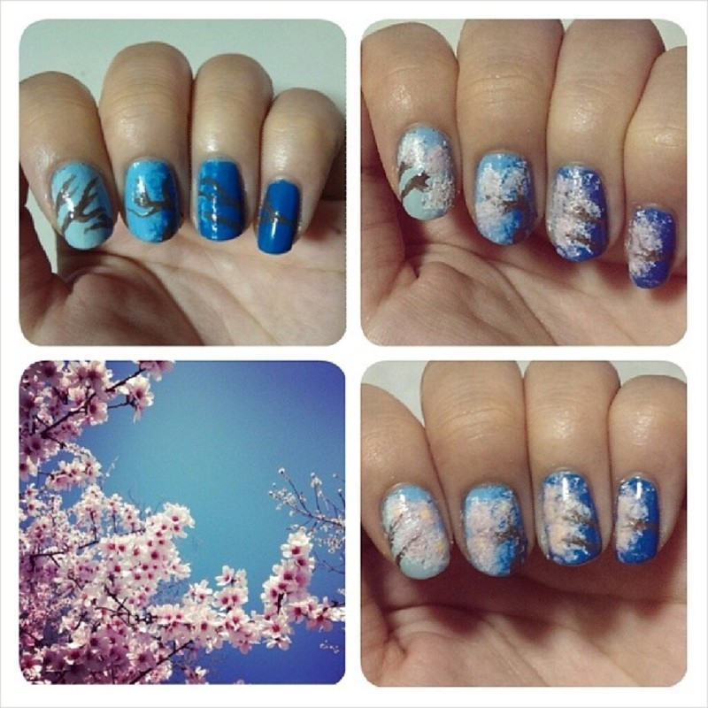 Cherry Blossoms - Sakura. nail art by JingTing Jaslynn