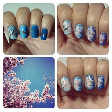 Cherry Blossoms - Sakura. nail art by JingTing Jaslynn