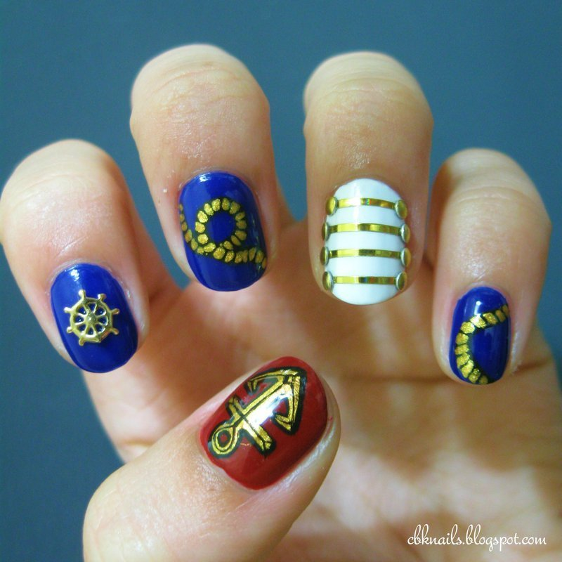 Nautical Nail Art nail art by Kasey Campa