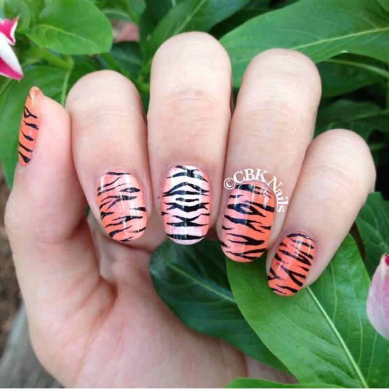 Tiger Stripes nail art by Kasey Campa