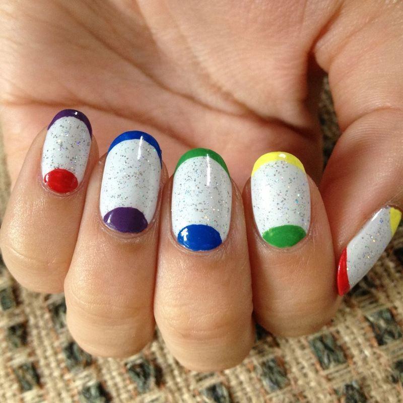 Rainbow Tips and Moons nail art by Kasey Campa
