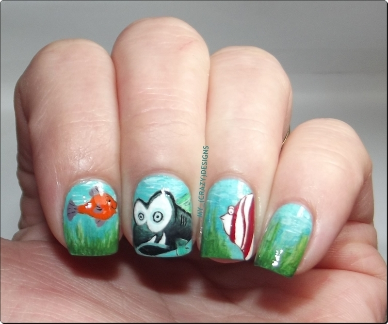 Fish nails nail art by Mycrazydesigns
