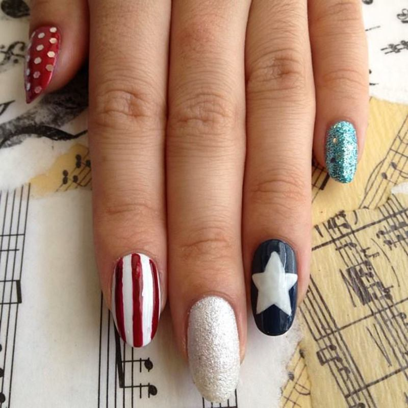 Fourth of July Skittle nail art by Kasey Campa