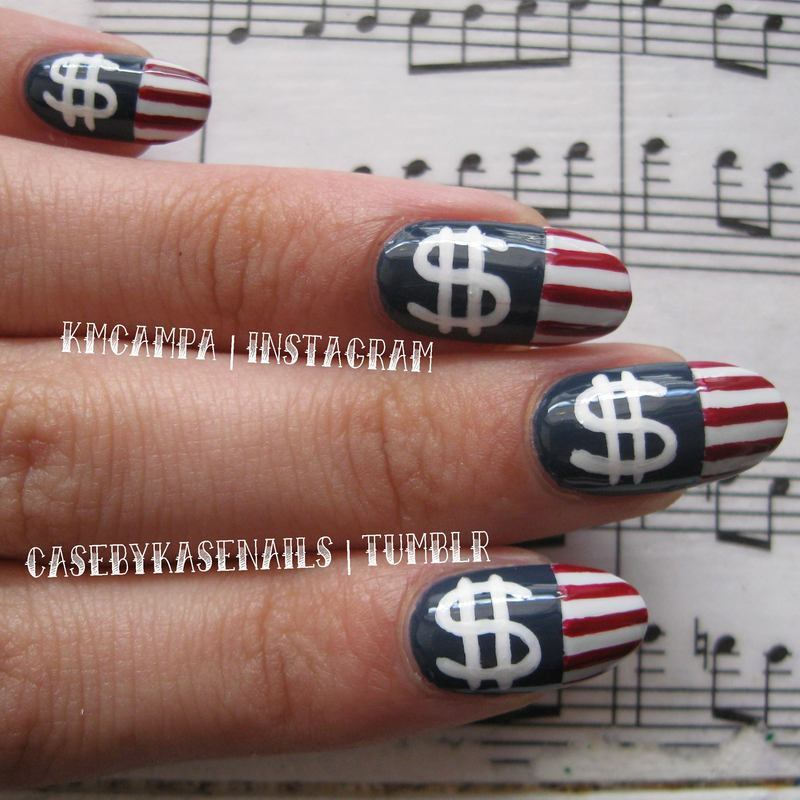 Capitalism Flags nail art by Kasey Campa