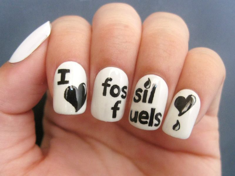 I Love Fossil Fuels nail art by Kasey Campa