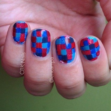 Red and Blue, but not Purple. nail art by Kasey Campa