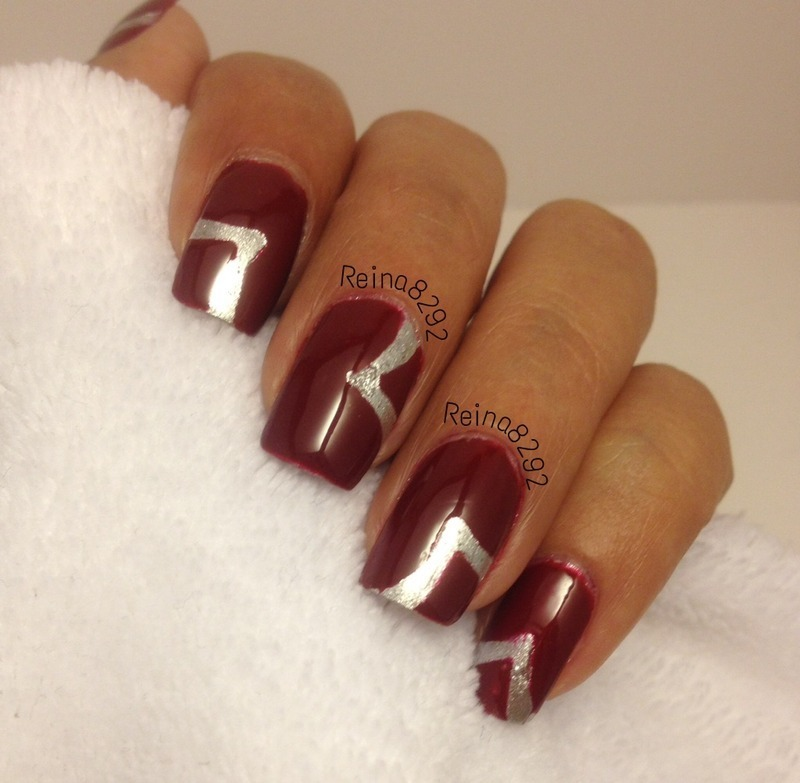 Simple Red & Silver nail art by Reina