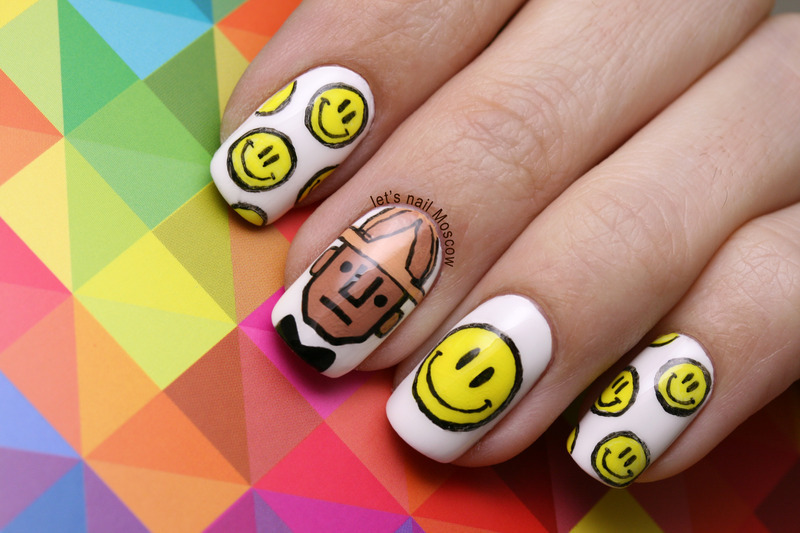 Pharrell Williams - Happy inspired nails :) nail art by Let's Nail Moscow