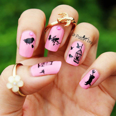 spring birds nail art by Awungshi
