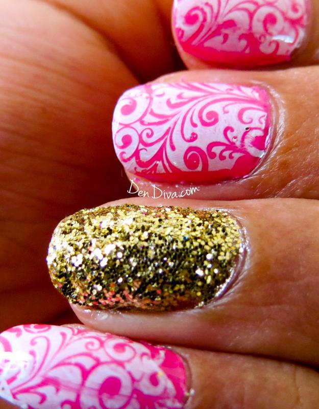 Glitter Swirl Arabesque Nails nail art by Madhu DenDiva