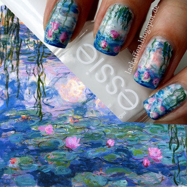 Claude Monet - Waterlilies Nail Art nail art by Tartelette