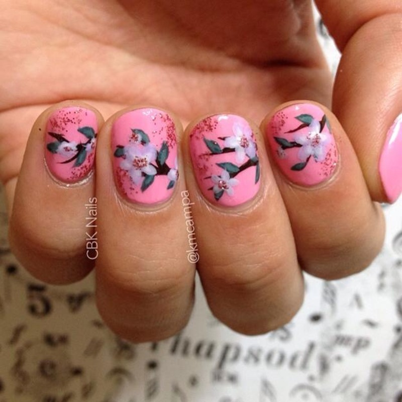 Pink Floral Nails nail art by Kasey Campa
