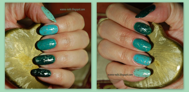 Green ombre nails nail art by Oana Chiciu