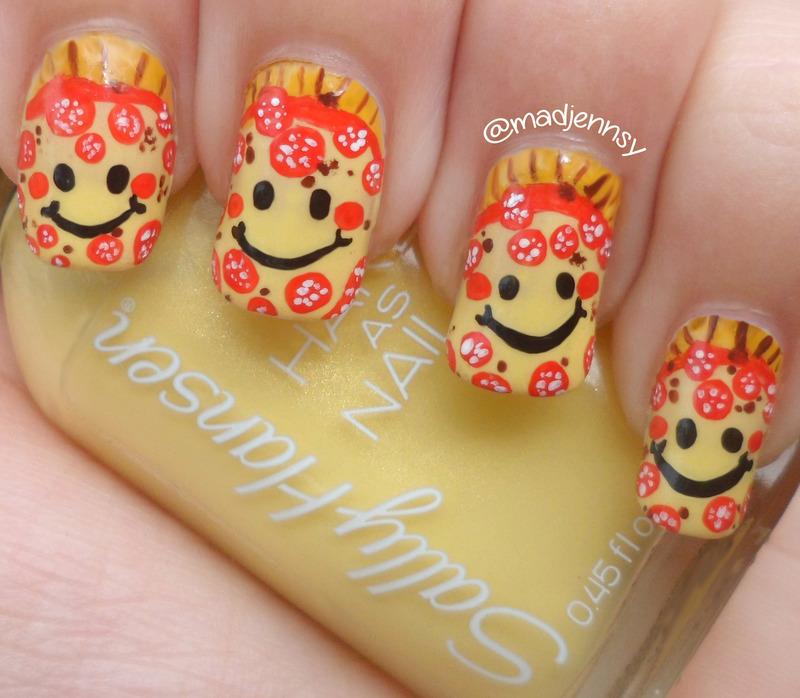 Smiley Pepperoni Pizza Nail Art  nail art by madjennsy Nail Art