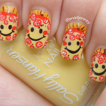 Smiley Pepperoni Pizza Nail Art  nail art by madjennsy Nail Art