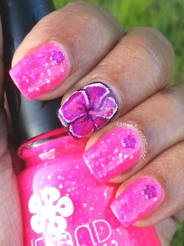 Hibiscus Flower Manicure nail art by Tonya