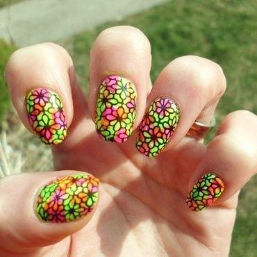 Neon Flowers nail art by Angelique Adams