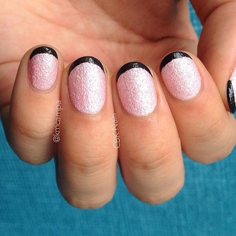 Pink and Black Textured French nail art by Kasey Campa