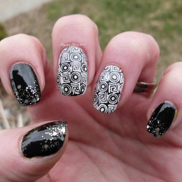Classic Black and White  nail art by Angelique Adams
