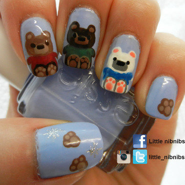 not bare...but bear nail art by Julie Nguyen