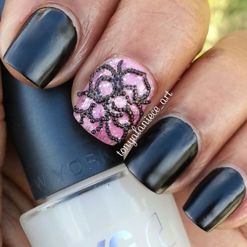 Black Matte Caviar Rose Manicure Nail Art By Tonya Nailpolis