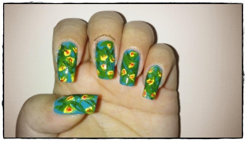 Wild Flowers nail art by Divya Pandey
