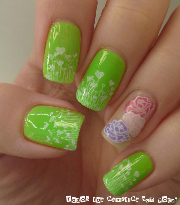 Neon spring nail art by Maria