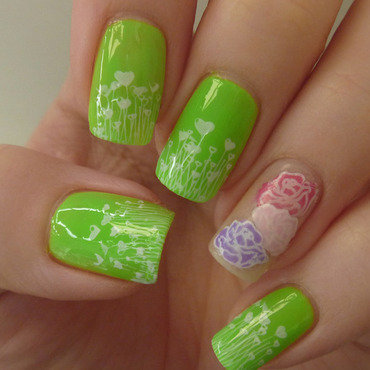 Neon spring nail art by Maria
