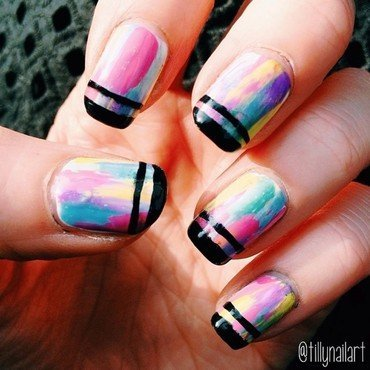 Pastel strokes nails thumb370f