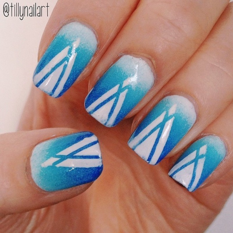 Blue Gradient White Spike Nails nail art by Tilly  Hawkins