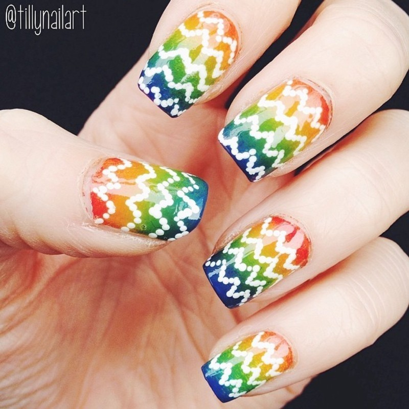Rainbow Gradient and White Polka Dot Chevron Nails nail art by Tilly  Hawkins
