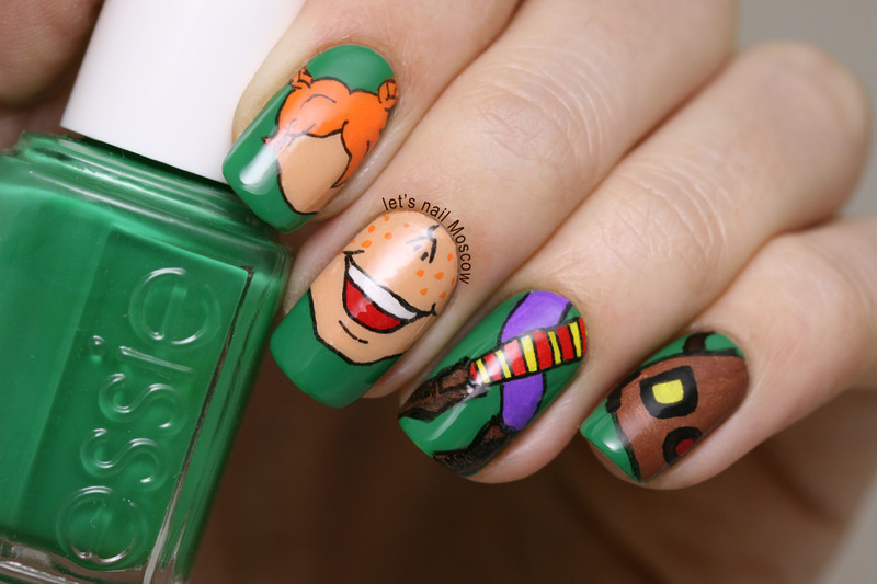 Pippy Longstocking inspired nails :) nail art by Let's Nail Moscow