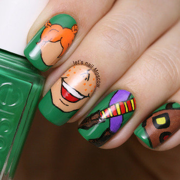 31dc2014 inspired by a book pippy longstocking smile nails nail art nailart                                   lets nail moscow 1 thumb370f