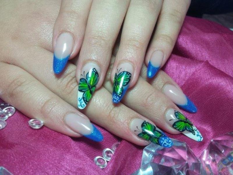 Spring Butterflys nail art by Veronika Španić