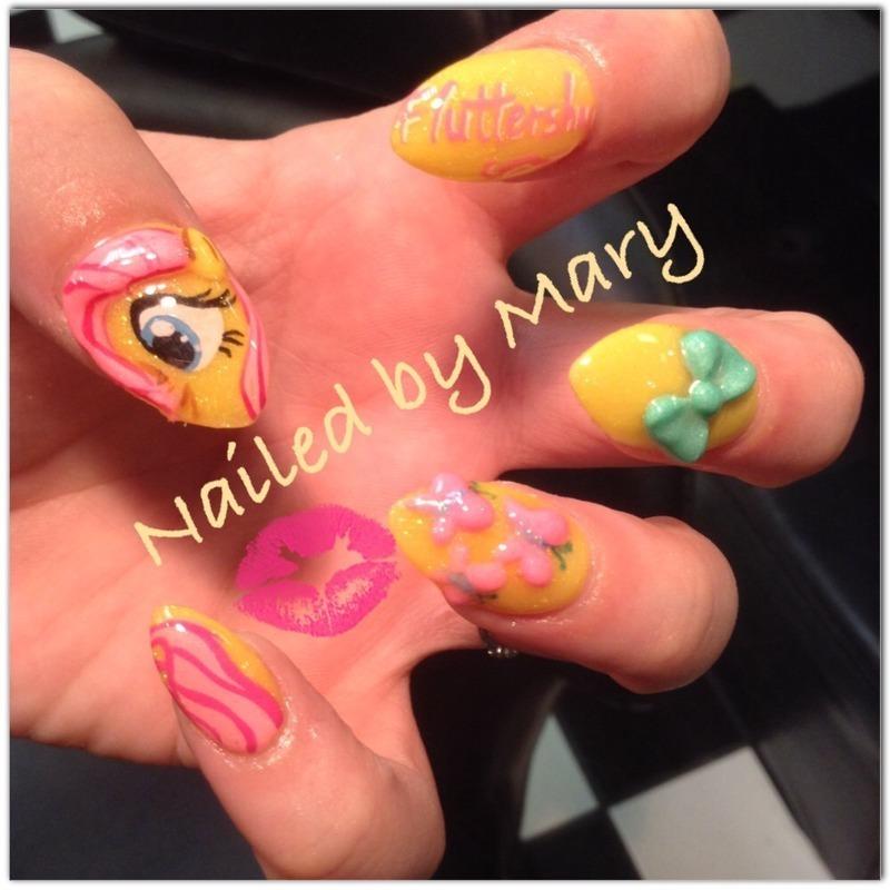 My little pony Fluttershy pony  nail art by Mary
