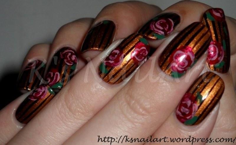 """Stripes and Roses nail art by Kairi E """"K's NailArt"""""""