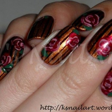 "Stripes and Roses nail art by Kairi E ""K's NailArt"""