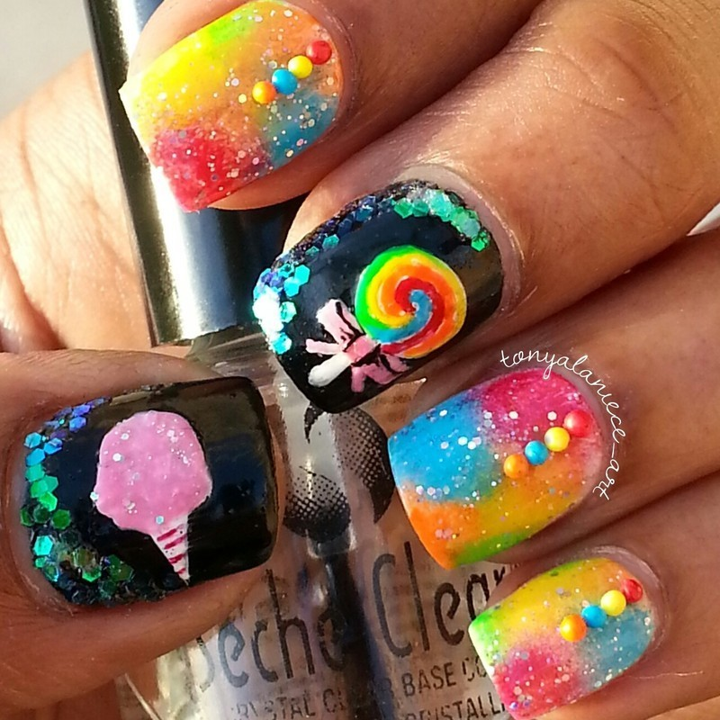 Candy Manicure nail art by Tonya