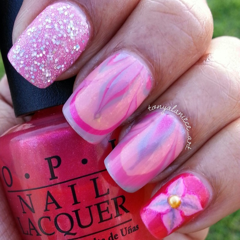 Flower Water Marble Manicure nail art by Tonya