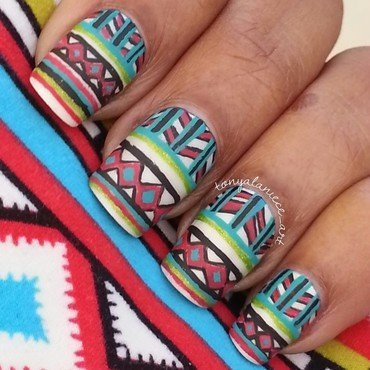 Tribal Print Manicure nail art by Tonya