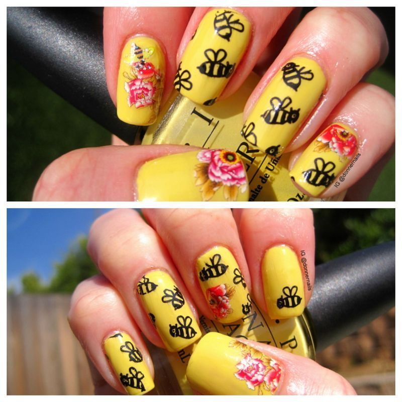 Bees Pollinating nail art by Donner