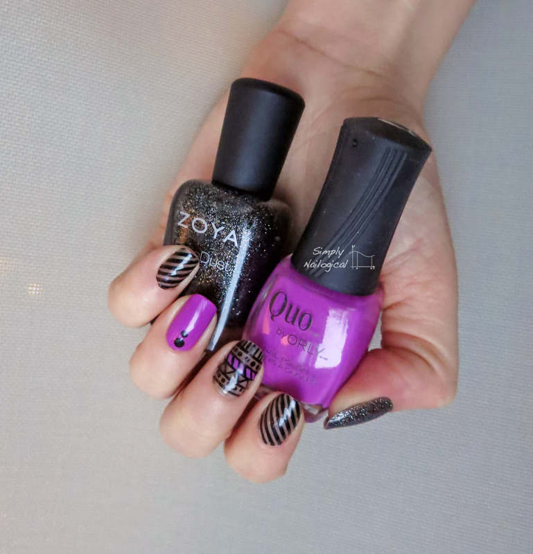 Radiant orchid and black makes for edgy nail art nail art by simplynailogical