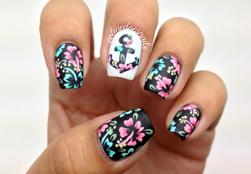 Floral anchor nail art nail art by celine pea nailpolis museum floral anchor nail art prinsesfo Gallery