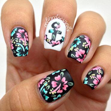 Floral Anchor Nail Art nail art by Celine Peña