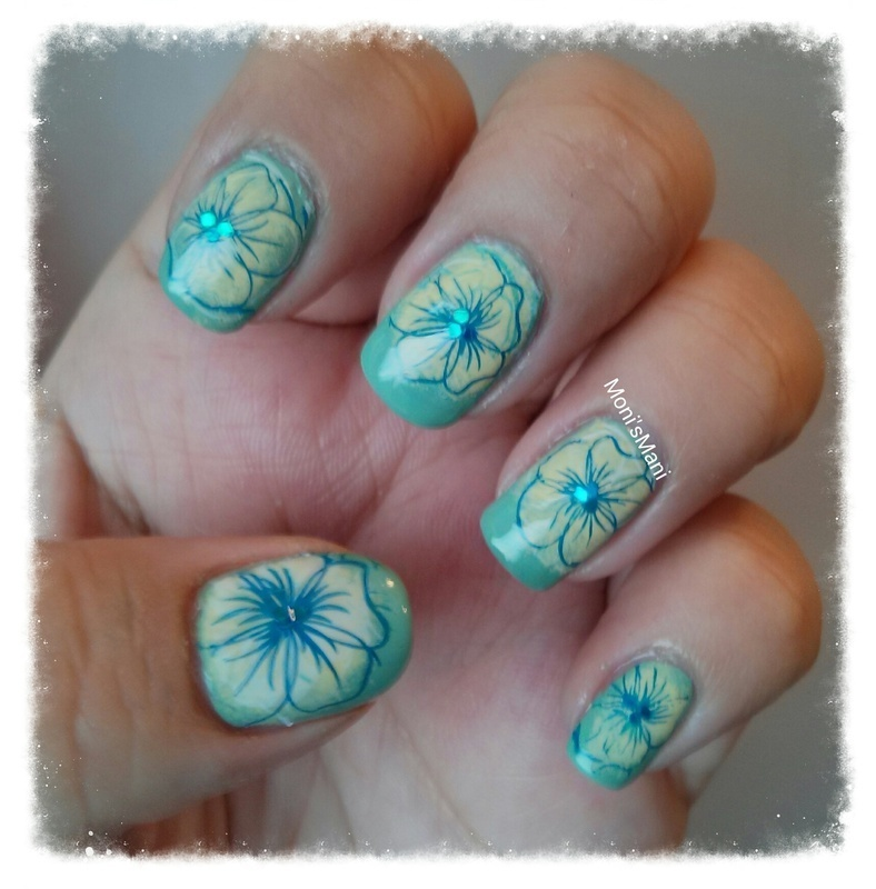 Hawaiian inspired Mani nail art by Moni'sMani